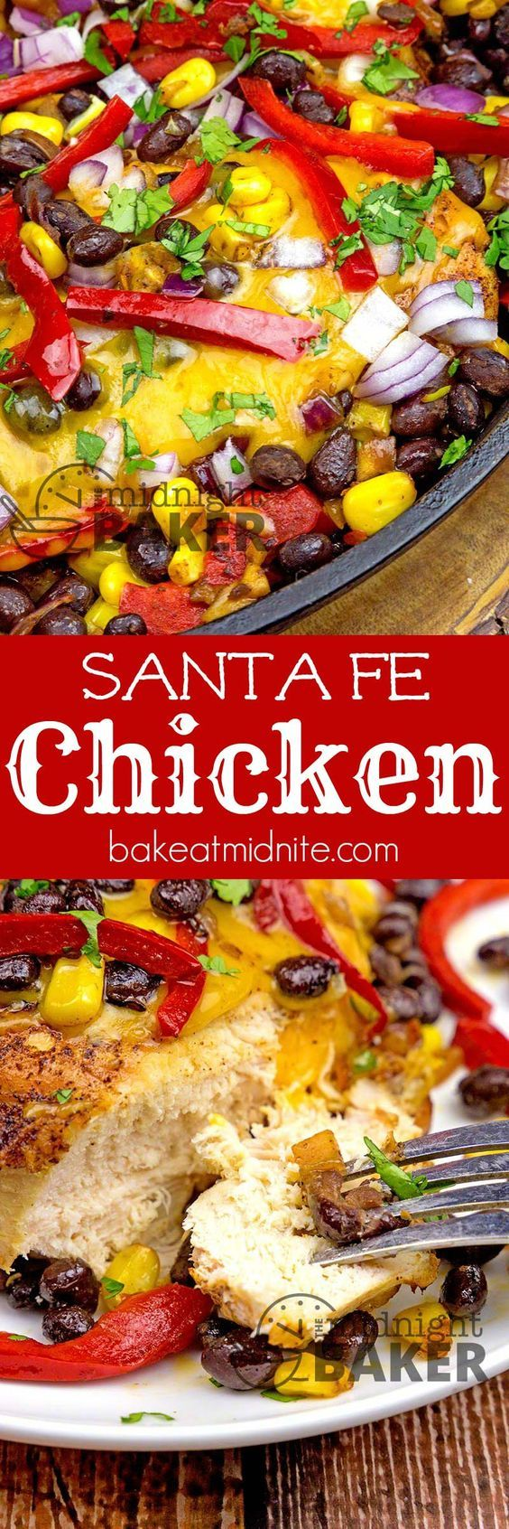 Santa Fe Chicken ~ loaded with a great southwestern veggie combo and gobs of cheddar cheese!