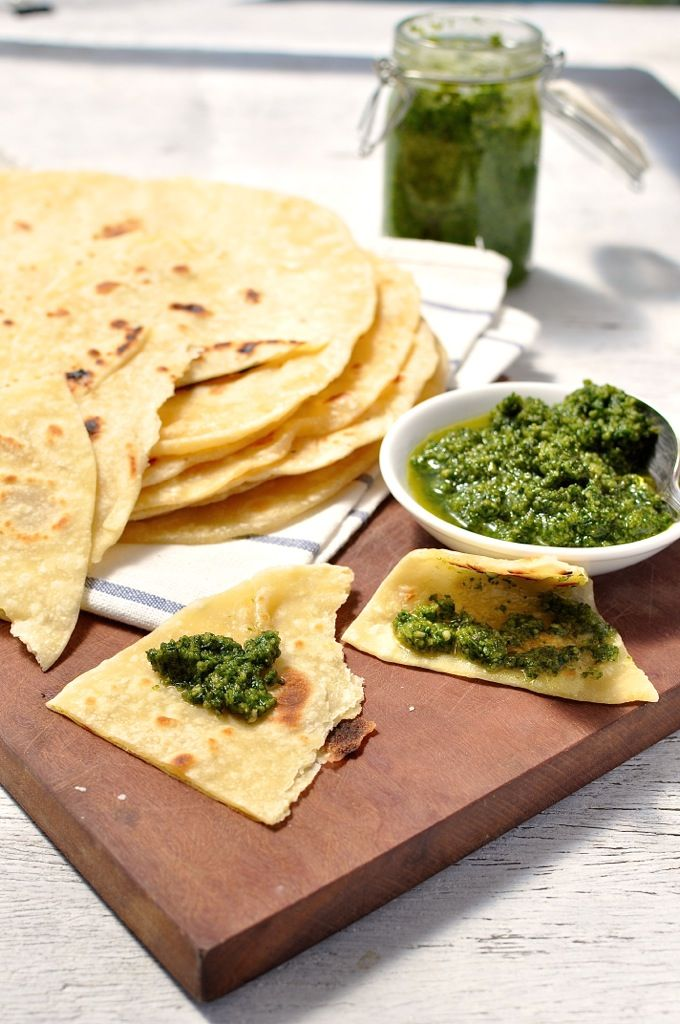 Soft pliable flatbread recipe which requires no yeast and hardly any kneading. Can be made ahead.
