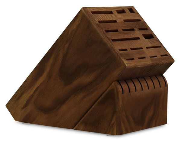 "Cutlery and More Universal Knife Block 25-slot Walnut This is a VERY nice knife block, especially for the money.  We got a cherry one, but I assume the walnut and other woods are just as nice.  I think they have some other hardwood inside but with a very thick layer (thicker than a ""veneer"") of the nice wood covering all sides.  The cherry is natural finish and the block holds a lot of knives.  (They have a smaller model, too.) In general, I think Cutlery and More is a good company with…"