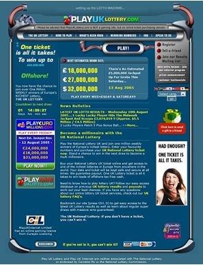 Witryna PlayHugeLottos.com w latach 2000nych - PlayUKLottery.com