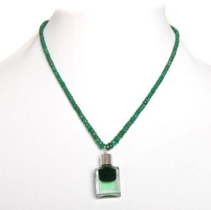 Smaragdkette mit Aura-Soma® Anhängerflasche B63 - aurasomashop.at
