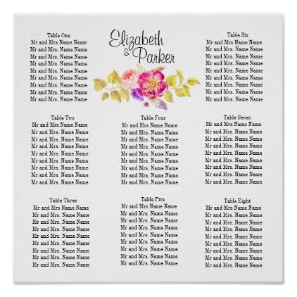 Pretty Floral Template Wedding Seating Chart - monogram gifts unique design style monogrammed diy cyo customize