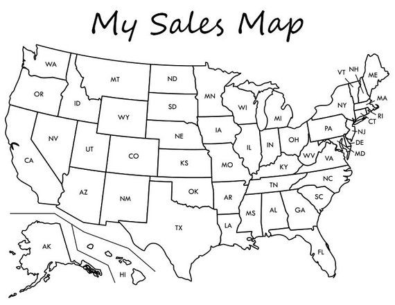 Etsy Sales Map Coloring Map Printable Etsy Sales Printable Map Work Organizer Online Sales Map Planner Pages Planner Us Map Printable United States Map Labeled Maps For Kids