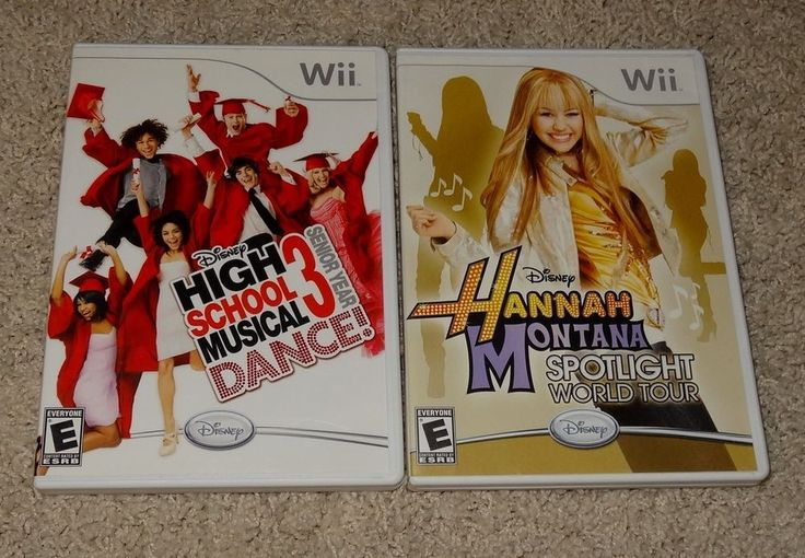 Wii High School Musical 3 Dance & Hannah Montana Spotlight Nintendo Games 2pc KH #Nintendo