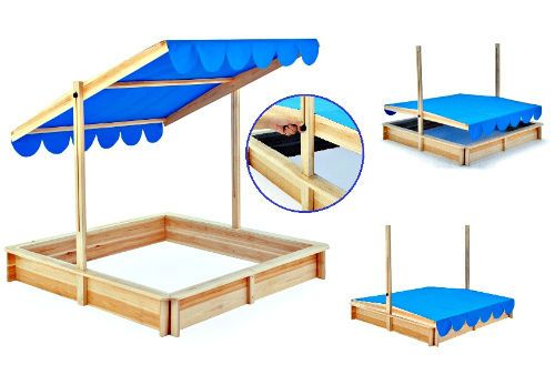 Wooden Sandpit With Adgestable Roof Kids Toddler Outdoor Play Sandbox Sunshade  #Unbranded