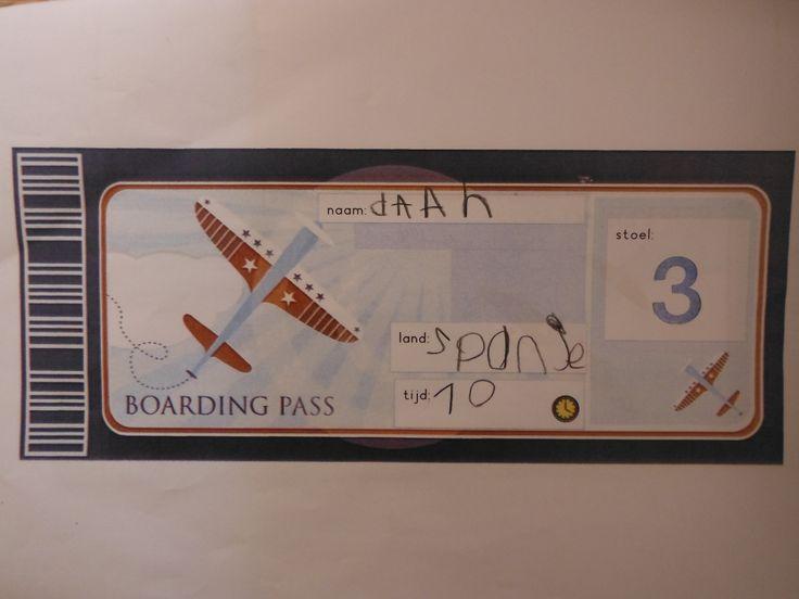 vliegticket maken stap 2 naam, land, en tijd. bij het inchecken wordt het stoelnr erop gestempeld.