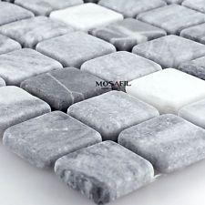 Marmormosaik Mosaik Fliesen Schwarz Grau 23x23x7mm