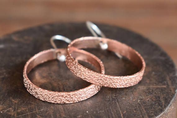 Copper Sparkly Textured Hoop Earrings-Boho-copper hammered