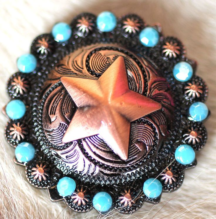 4 Conchos Concho Star Copper Rhinestone Horse Saddle