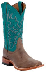 Nocona® Ladies Tan Vintage Cow w/ Turquoise Top Square Toe Western Boots | Cavender's  I WANT THESE