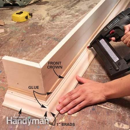 cornice board valance ideas | How to Build Window Cornices | The Family Handyman-For our bedroom windows. We have to use ugly tentions rods and this could hide them