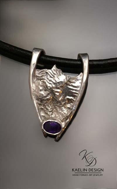 'Mountain Pass' Amethyst and Reticulated Silver pendant by Kaelin Design