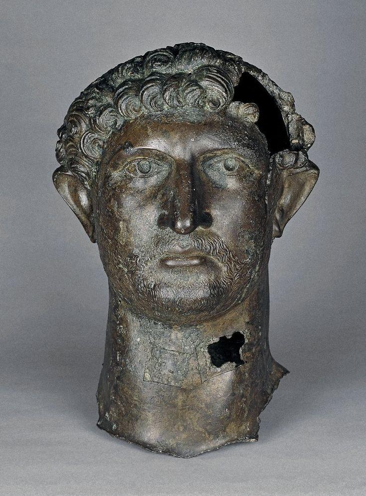 Head of Roman Emperor Hadrian, in the British Museum, Bronze