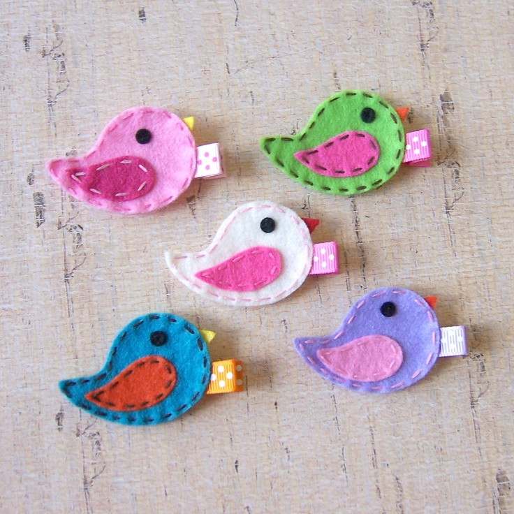 Felt Bird Hair Clip - You Pick 1 Clippie - Pink, Apple Green, White, Lavender or Turquoise - Cute spring clip - Birthday party favor. $3.25, via Etsy.