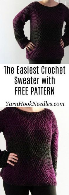 O suéter de crochê mais fácil que você já fez! - FiosHookNeedles #croch ...