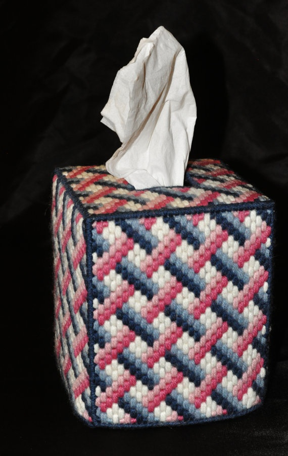 Rose And Blue Woven Tissue Box Cover By