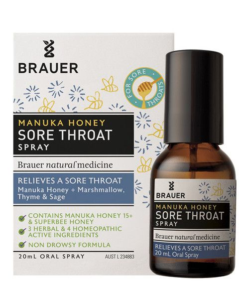 Adult Manuka Honey Sore Throat Oral Spray 20mL- Adult Manuka Honey Sore Throat Oral Spray contains ingredients traditionally used in herbal and homeopathic medicine to help relieve a sore throat.