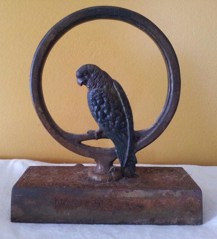 Antique Bradley & Hubbard Doorstop, Cast Iron Door Stop, Parrot on Ring,  Hand Painted, Antique Metal Art, Metalware, Vintage Parrot - 115 Best Antique Iron Door Stops Images On Pinterest Door Stop