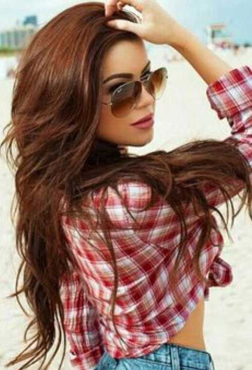 Layered-Chestnut- Brown-Long-Hairstyle.. Fall Color