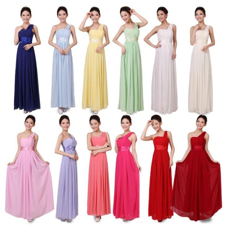 2017 봄 여름 신부 플러스 사이즈 XXXXL 어깨 하나 블루 녹색 들러리 드레스 긴 연회 드레스 쉬폰 이브닝 드레스