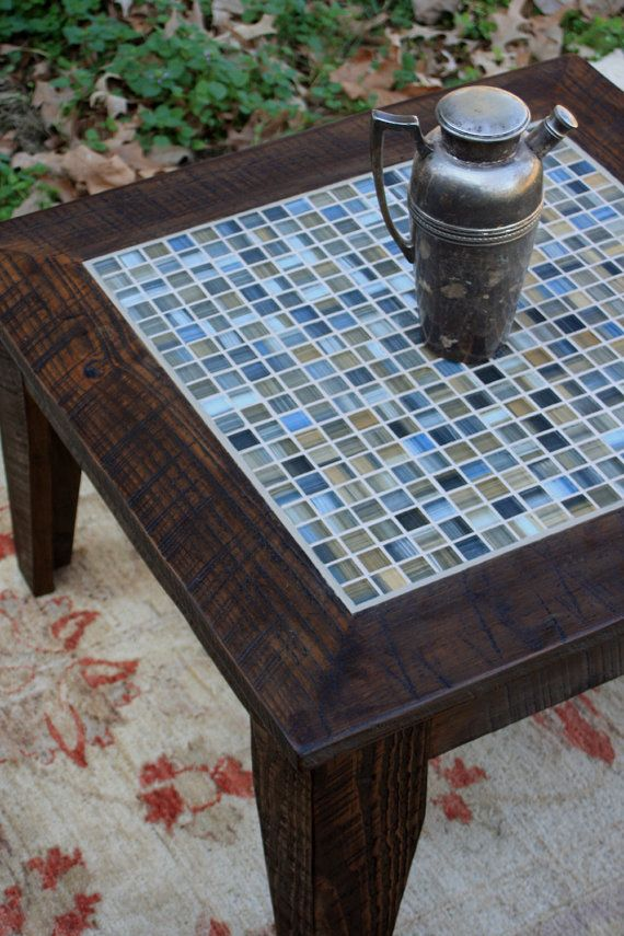 Small Coffee Table Tile Mosaic Reclaimed Wood Rustic Contemporary