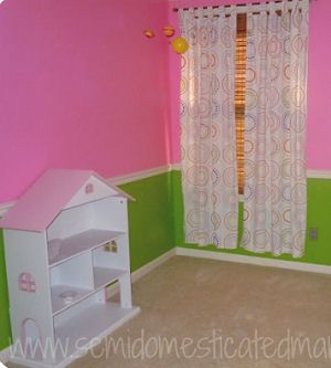 Baby Girl Nursery Room With Bright Pink And Lime Green Wall Paint Color And  White Painted