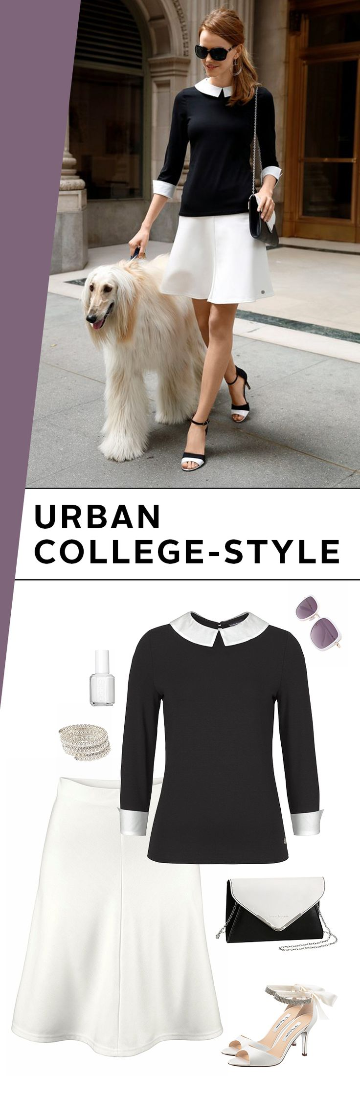 Das gibt eine glatte 1 in puncto Style und Eleganz! Der Urban College Look ist ein wunderschöner Mix aus klassischen College-Elementen wie dem Shirt mit Bubikragen oder dem Jerseyrock – und eleganten Hinguckern wie den glitzernden Sandaletten.