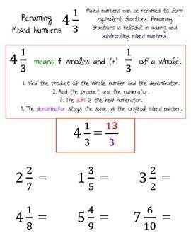 improper fractions and renaming mixed numbers worksheets homeschooling math improper. Black Bedroom Furniture Sets. Home Design Ideas