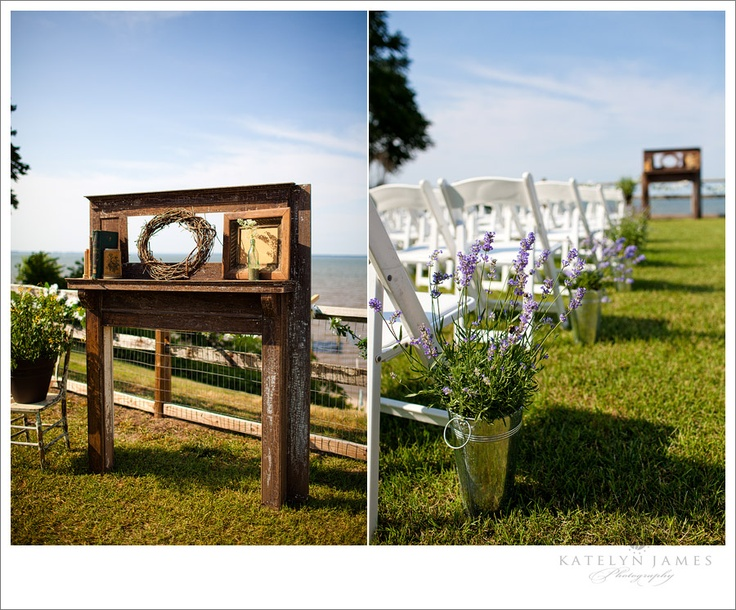 A flippin'  FANTASTIC rustic, vintage wedding altar from furniture ~ amazing (from Katelyn James Photography)