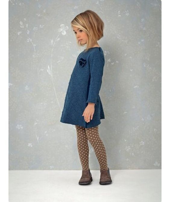 Mac and Mia - Stylist kids clothes, skip the shopping! Children's clothes hand-picked and delivered to your door. Toddler girl winter fashion. Cut bob hairstyle too. Polka dotted tights, booties and sweater dress