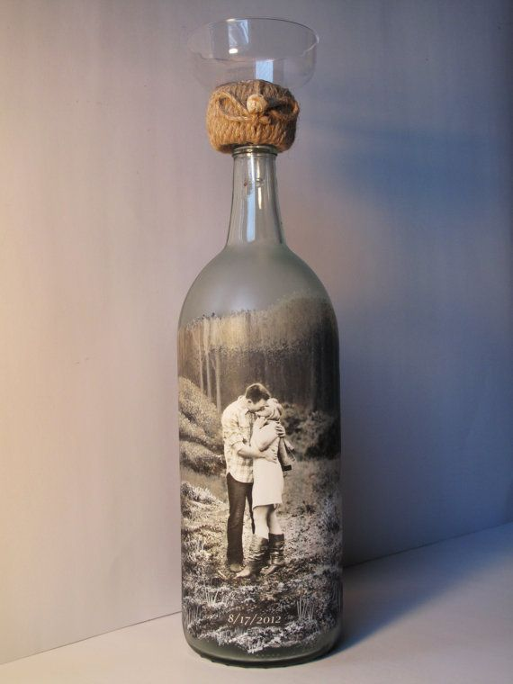Personalized Sand Ceremony Bottle, Custom Order Hand Painted Wine Bottle With Your Photo, Engagement Gift, Wedding Gift, Anniversary Gift