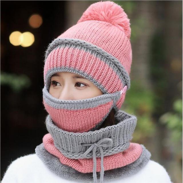 Ski Mask Knitted Neck Warmer Bib Hat Winter Snow Sport Thick Beanie Scarf Mask