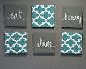 Eat Drink & Be Merry Wall Art 6-Pack Canvas Wall Hangings Painting Moroccan Fabric Art Dining Room Decor Modern Chic Teal Charcoal Gray Sign