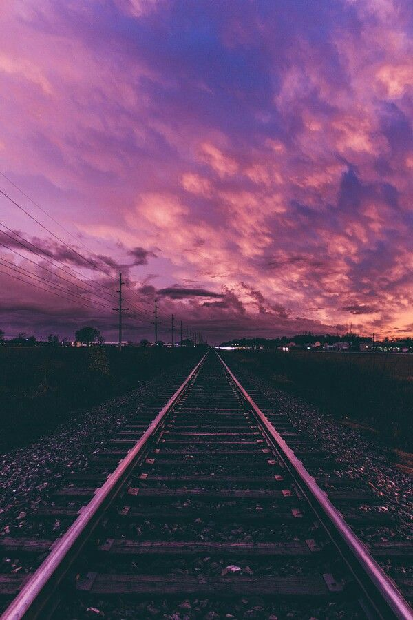 Walking On The Sunset Of Train Tracks Background Phone Wallpapers Tumblr Purple Sunset Pictures