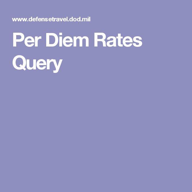 Per Diem Rates Query