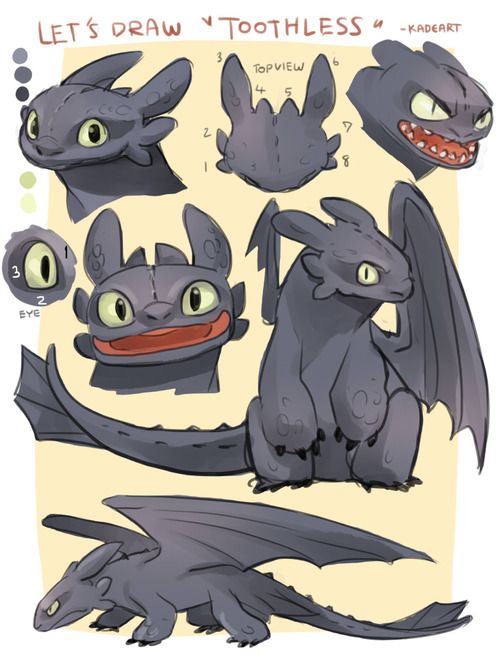 Let's draw Toothless from Kadeart ... How to train your dragon, toothless, night fury, dragon