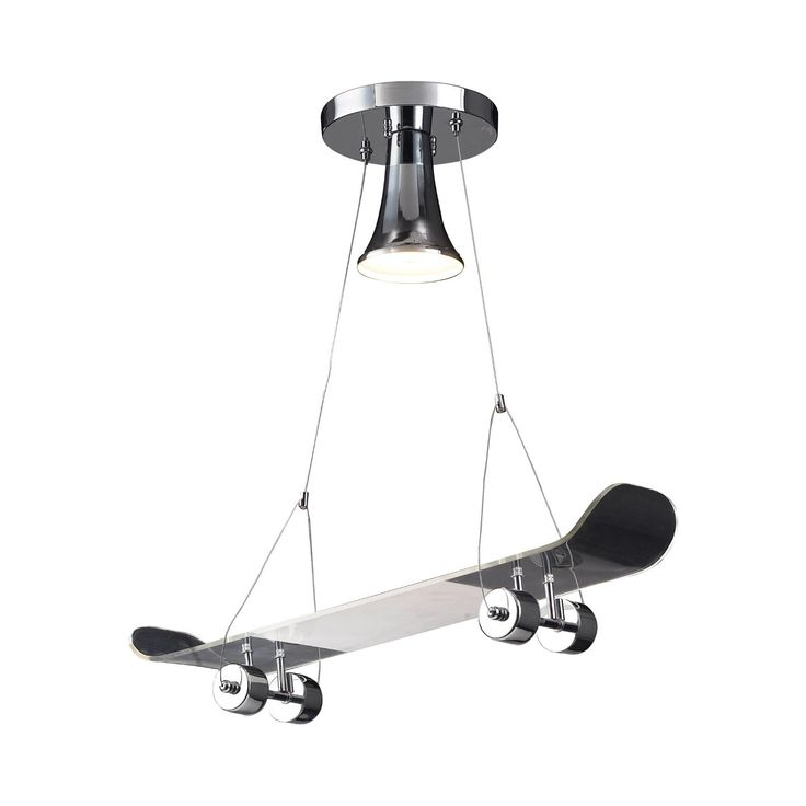 If you spend your days glued to your skateboard, this novelty light pendant is just for you. This cool, chrome-finished Ollie Light Pendant, featuring a dangling decorative skateboard, is the perfect w...  Find the Ollie Light Pendant, as seen in the Venice Beach Bungalow Collection at http://dotandbo.com/collections/venice-beach-bungalow?utm_source=pinterest&utm_medium=organic&db_sku=109716