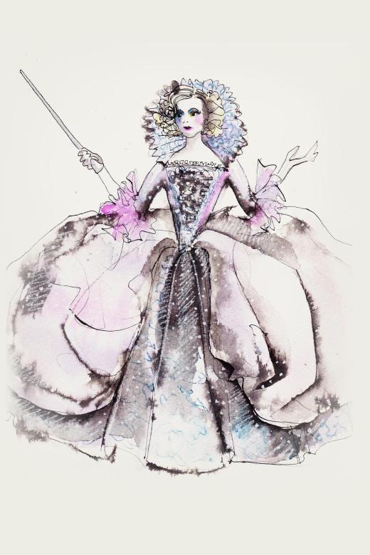 Sandy Powells Skizze zum Kostüm der guten Fee.