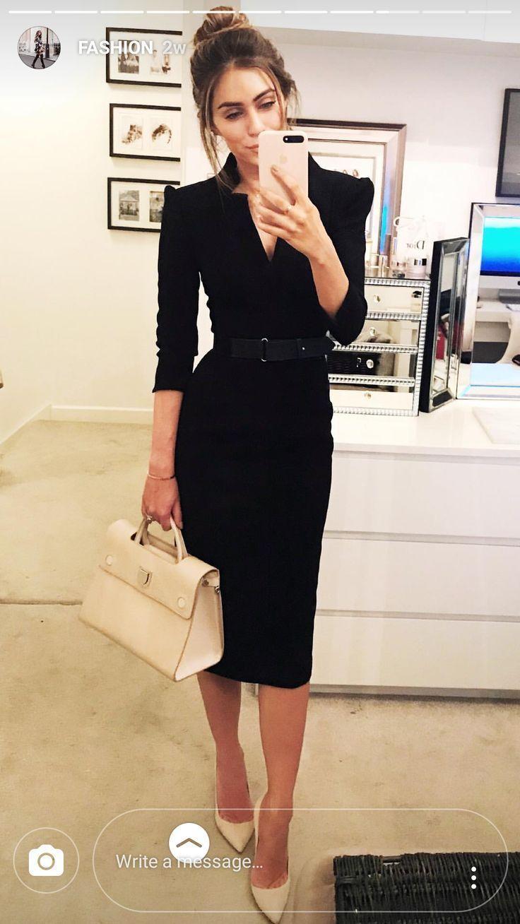 Schwarzes Langarmkleid Professional Outfits Fashion Classy Outfits [ 1308 x 736 Pixel ]