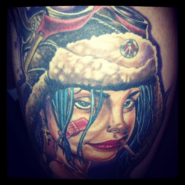 My Tank Girl Tattoo was done by Kirt Silver, of Silver City Tattoo.  This piece is the first installment of a greater leg piece that will take a while to complete. I love The Tank Girl series.