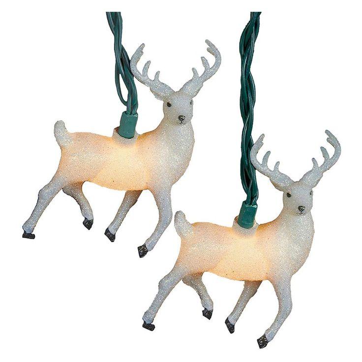 Kurt Adler UL 10 Light White Glitter Reindeer Light Set - UL4290