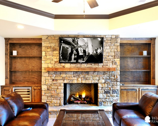 Best Stone Fireplaces Images On Pinterest Stone Fireplaces - Basement fireplace design ideas