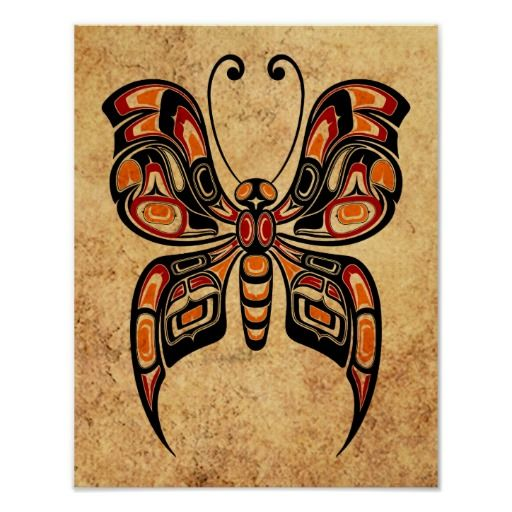 Bird Spirit Inuit Art Prints | Aged Yellow and Red Haida Spirit Butterfly Print