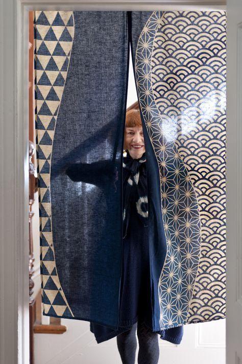 暖簾 Indigo Noren  视觉艺术-靠垫网 Japanese patterns