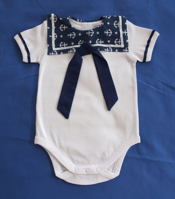 Your baby boy will sail through childhood in style with this Sailor Boy Onesie by keb4kids on Etsy