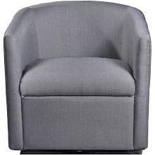 August Grove Sebastien Swivel Barrel Chair Upholstery: Gray