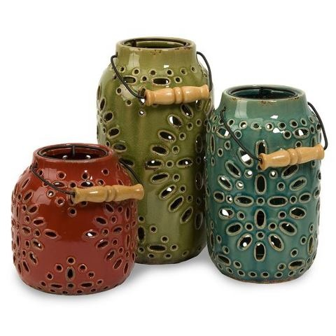 add handles to ceramic luminaries for easy transport around the yard
