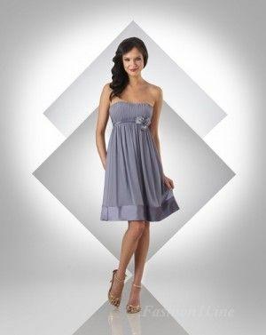 A-Line Chiffon Tube Short Bridesmaid Dress fashion10053