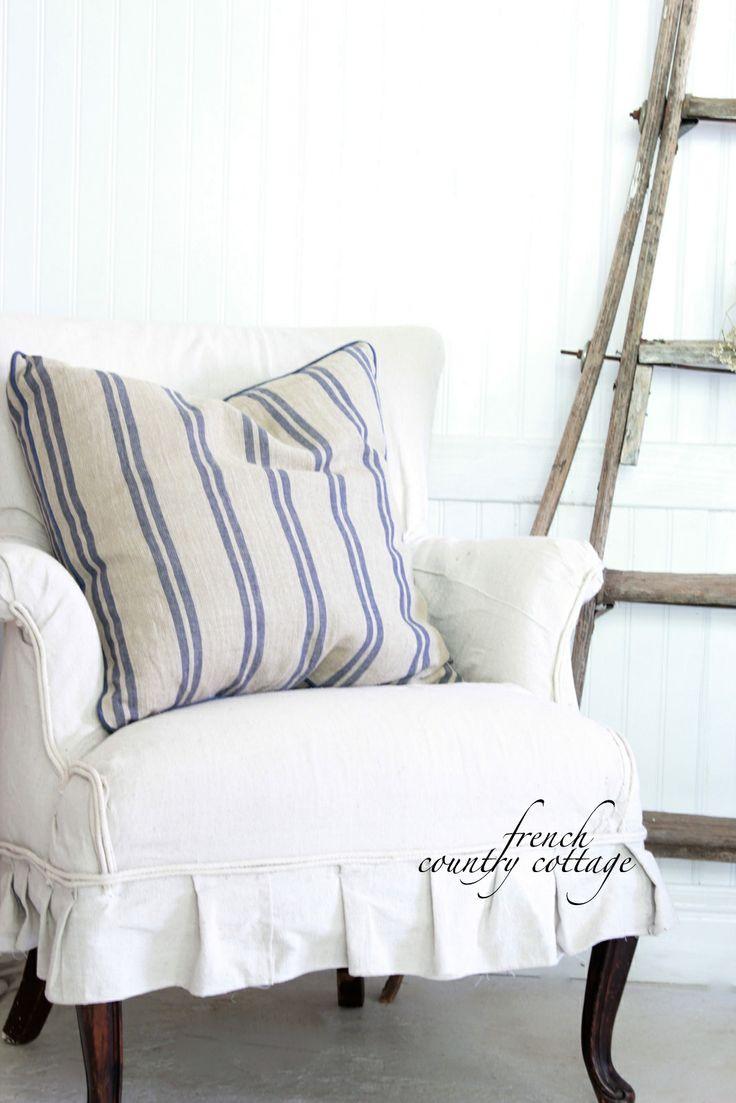 Striped feather pillow in European Floh Markt feed sack!