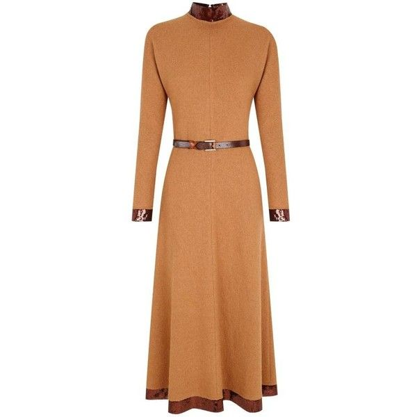 The 2nd Skin Co Sequin-trimmed Midi Wool Dress ($507) ❤ liked on Polyvore featuring dresses, camel, beige midi dress, sequin dresses, long sequin skirt, midi dress and sequin midi dress